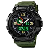 Mens Digital Watches 50M Waterproof Outdoor Sport Watch Military Multifunction Casual Dual Display Stopwatch Wrist Watch for Men - 1520 Green