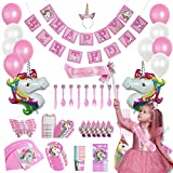 Set per feste da 165 pezzi Set per feste con unicorno, set di stoviglie per compleanno unicorno rosa usa e getta per 16 bambini Regalo di compleanno, compleanno per bambini, decorazione per feste