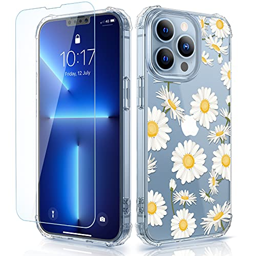 Caka Designed for iPhone 13 Pro Max Case with Screen Protector, Clear Flower Floral for Women Girls Soft TPU Shockproof Protective Cover...