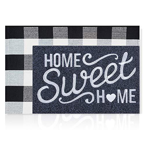 Home Sweet Home Welcome - Felpudo para puerta delantera y exterior con diseño de búfalo, tamaño grande, 61 x 91 cm, para decoración de capas, juego de felpudo, antideslizante para puerta de interior