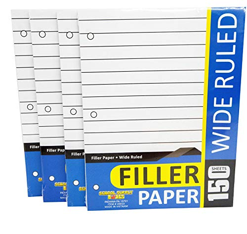 Wide Ruled Loose Leaf Paper - 4pk School Supply Bundle - Essential Back to School Supplies - Hole Punched Paper for 3-Ring Binders and Folders - Standard 8.5'x 11' Multi-Purpose Paper