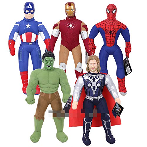 jgzwl Peluche5 Piezas Superhéroes Capitán América Iron Man Thor Spiderman Hulk Juguete De Peluche Muñeca De Peluche Suave Regalo para Niños Niños 43 Cm