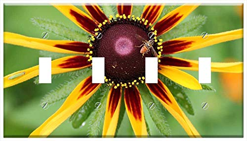 Switch Plate 4 Gang Toggle - Nature Summer Flora Bright Beneficial Insects