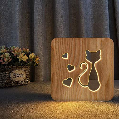 SZG Elegante Katze Thema 3D Holzlampe LED Nachtlicht Home Room Decoration Kreative Tischlampen für Geschenk