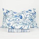 R.P. Juego de sábanas de algodón Polinesia Acuario Made in Italy 4 tamaños 1 plaza cama individual azul