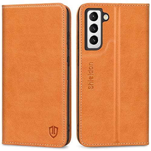 SHIELDON Galaxy S21 5G Case, Galaxy S21 Wallet Case Genuine Leather Flip Cover with Kickstand Function and Credit Card Slot RFID Blocking Magnetic Closure Compatible with Galaxy S21 5G 6.2
