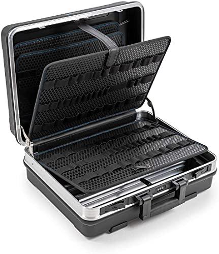 B&W Werkzeugkoffer BASE mit Werkzeughalteschlaufen (Koffer aus ABS, Volumen 28,1l, 46,3 x 35,5 x 17,1 cm innen) 120.02/L, ohne Werkzeug