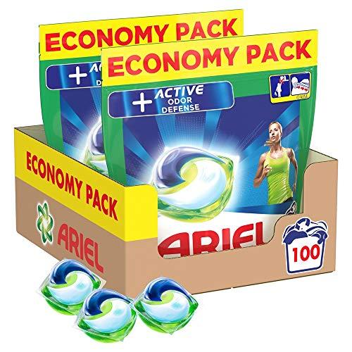 Ariel Allin1 Active Lessive Capsules, 100 Lavages (2 x 50 Pods), Avec Défense Active Contre Les Odeurs et Élimine les Taches Tenaces