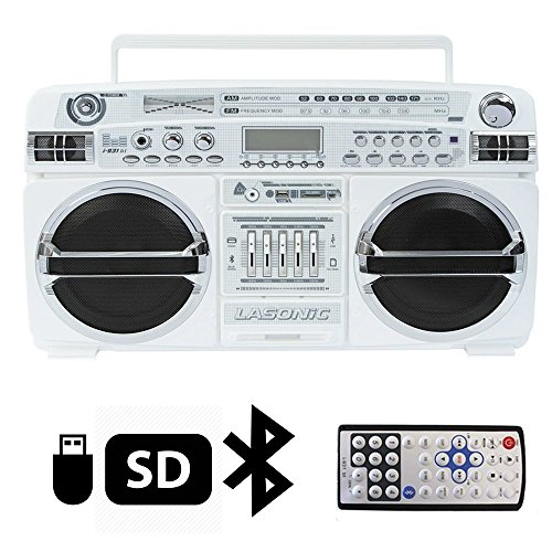 Lasonic i-931BT Portable AM/FM Radio Bluetooth Ghetto Blaster Boombox Speakers (i-931BT, White / Chrome)