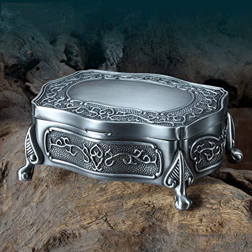 La joyería del metal de la vendimia Organizador, de almacenamiento caso clásico de la caja del tesoro de la baratija, pendientes / collar / joyería del sostenedor del anillo de la caja, de escritorio