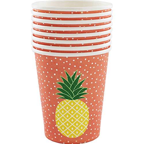 Lot de 8 gobelets en papier - Motif ananas tropical