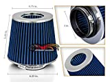 RTunes Racing BLUE 3' 76mm Inlet Cold Air Intake Cone Replacement Quality Dry Air Filter