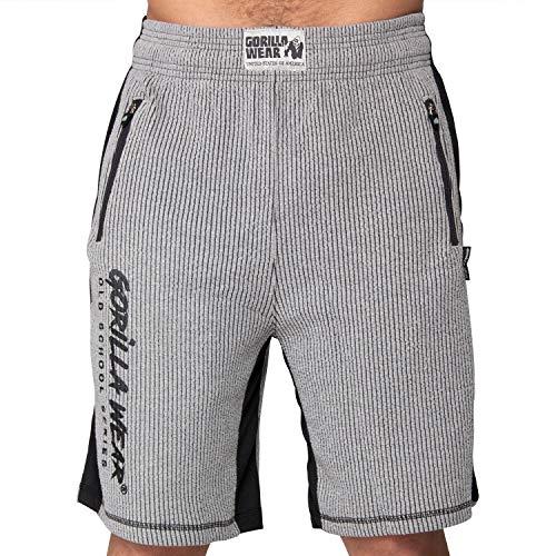 GORILLA WEAR Augustine Old School Shorts - Bodybuilding und Fitness Bekleidung Herren, grau, S/M