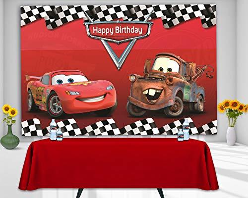 RUINI Car Racing Themed Backdrop Cartoon Cars Mobilization Birthday Party Decor Banner 5x3FT