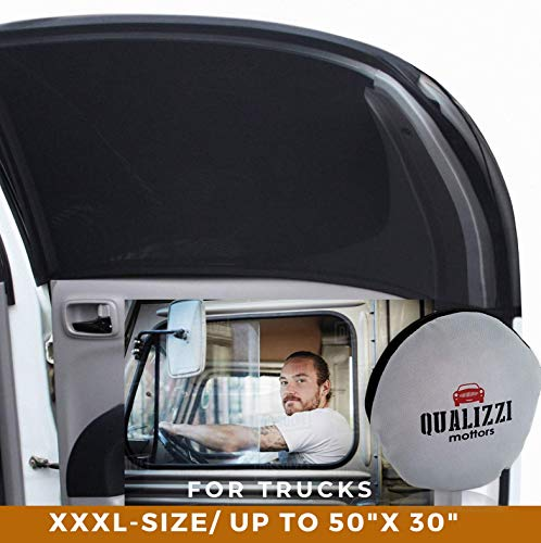 Qualizzi XXXL Window Sun Shades for Trucks Up to 50in. x 30in. Slip-On Truck Window Shade Socks for Side Windows. Universal Fit 2-Pack