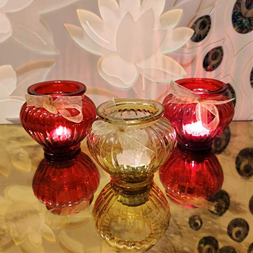 CURIO CRAFTS Red & Gold Glass Votive Candle Holders (Set of 3) - Tealight Candle Holders for Home Decor, Occasions & Table Centerpieces