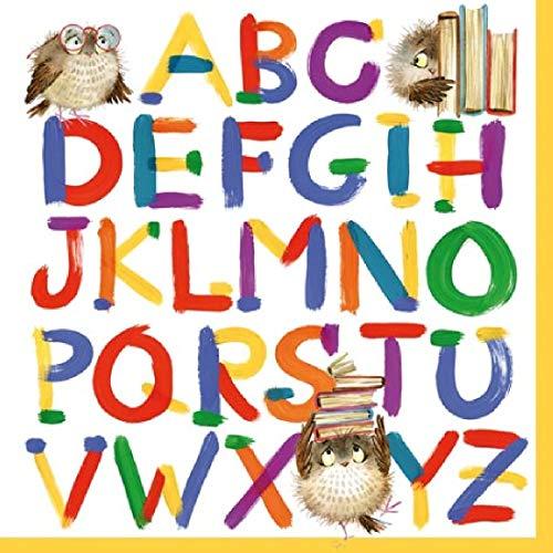 Decpero Servietten Alphabet / 20 Stück / 33x33cm / 3-lagig/Einschulung