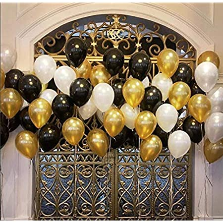 Party Propz Pack Of 50 Black,Golden and White Latex Balloon For Balloons For Decoration / Birthday Balloons Decorations Items Set