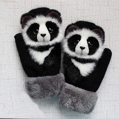 DRTWE Cartoon Tier Waschbär Winter Warme Handschuhe Gestrickt Verdicken Kunstpelz Handschuhe Für Kinder Erwachsene, Schwarzer Waschbär