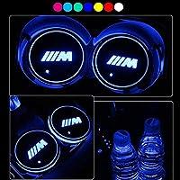 車用 LED ドリンクホルダー レインボーコースター 車載 ロゴ ディスプレイライト LEDカーカップホルダー マットパッド (for bmw-m)