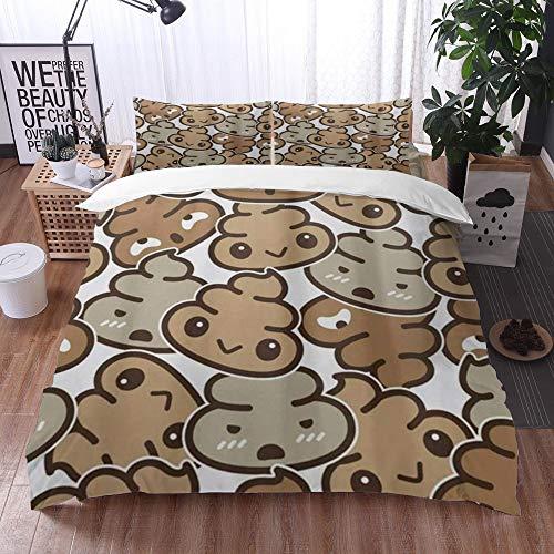 Qinniii Duvet Cover Bedding Sets,Poo,3-Piece Comforter Cover Set 220 x 240 cm +2 Pillowcases 50 * 80cm