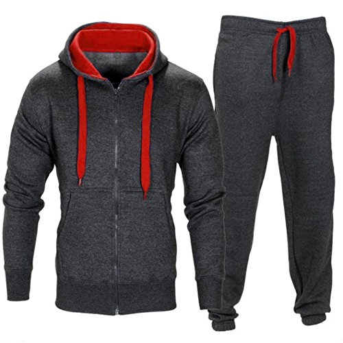 FUNIC Mens Stretchy Trousers Hooded Coat Jacket + Jogging Sports Pants Tracksuit Set (M, Deep Gray)