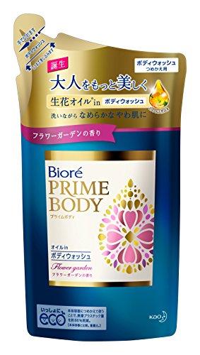 Biore Japan - Biore prime Body Oil in 400ml refill scent of body wash Flower Garden
