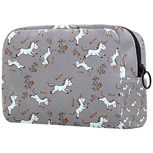 Bolsa de maquillaje de viaje con diseño de unicornio de dibujos animados para bebés, bolsa de maquillaje, organizador con cremallera para mujeres y niñas