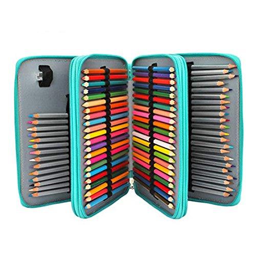 Soucolor 120 Slots Pencil Case PU Leather Handy Pencil Wrap with Zipper Super Large Capacity Pen Bag for Prismacolor Premier Colored Pencils, Crayola Colored Pencils(Green)