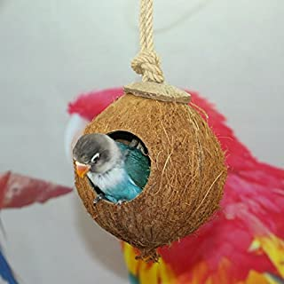 Natural Coconut Shell Bird Nest House Hut for Pet Parrot Canary Finch Pigeon Cage Hamster Rat Gerbil Mice Cage Seed Feeder...