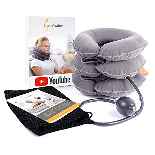 Cervical Neck Traction Device & Neck Stretcher - FDA Approved Inflatable & Adjustable Brace Collar & Neck Support Pillow - Ideal for Chronic Neck Pain Relief & Spine Alignment - Bonus Bag & Videos