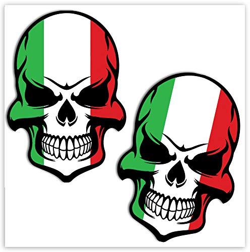 Biomar Labs® 2 Stück Vinyl Italien Flagge Schädel Totenkopf Aufkleber Autoaufkleber Stickers Auto Moto Motorrad Fahrrad Helm Fenster Tuning B 130
