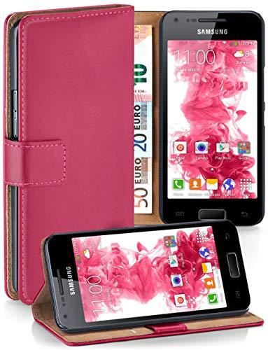 MoEx Cover a Libretto Compatibile con Samsung Galaxy S2 / S2 Plus | Fessura Carta + Soldi, Supporto, Rosa