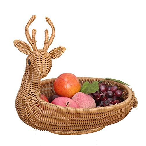 Oude Rotan geweven fruitmand, Deer fruitmand for Fruit Tray, gedroogd fruit, brood Opslag, for woonkamer, slaapkamer (Color : Brown)