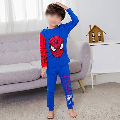 CSLEEPWEAR Pijamas Héroe Imprimir Traje Inicio Pijamas De Manga Larga De Cuello Redondo De Niños Adecuado para Niños De 2M-11 Años H-110 cm