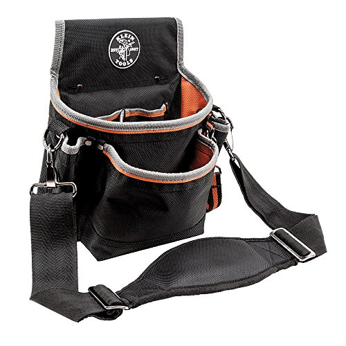 Klein Tools 5243 Tradesman Pro Tool Pouch with Padded Shoulder Strap, Reinforced Bottoms and Electrical Tape Thong, 15-Pouch