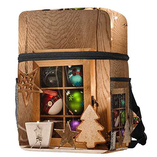 Weihnachtskarte Gold Weihnachtsbaum Rucksack Multifunktions Trekking Tagesrucksäcke Schulrucksack Outdoor Sport Büchertasche, Größe: 32 x 25,4 x 9,9 cm mehrfarbig05 12.6x10x3.9in/32x25.5x10 cm