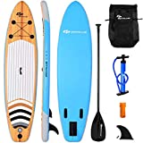 Goplus Inflatable Stand Up Paddle Board iSUP Cruiser 6' Thickness iSUP Package with 3 Fins Thuster, Adjustable Paddle, Pump Kit and Carry Backpack
