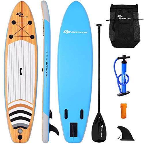 "Goplus Inflatable Stand Up Paddle Board iSUP Cruiser 6"" Thickness iSUP Package with 3 Fins Thuster, Adjustable Paddle, Pump Kit and Carry Backpack (10FT)"