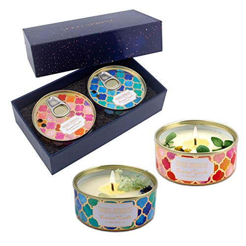 Seed Spring Scented Candles Gift Set, Mix Lemon Carnations vanilla aromatherapy candles, 80g/2.83oz, Soy Wax Candle for Women and Girl Birthday Christmas Valentine's day, 2pcs