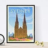 Sydney Blatt Kirche. Vintage-Stil. Poster Kirche in Farben.