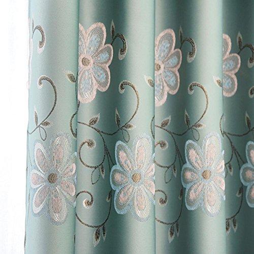 Rideaux et Drapes Rideaux occultant haute qualité Bleu-vert Jacquard Polyester pour fenêtres traitements Produit Fini Salon œillets en haut un panneau, Bleu vert, 1PC (200*270 cm)