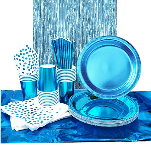 VAINECHAY Juego de Vajilla Fiesta Azul Vasos Platos de Papel Desechables Servilletas Pajitas Mantel Suministros Decoración Cumpleaños con Flecos Cortina Juego de Vajilla Boda Niños, 30 Invitados