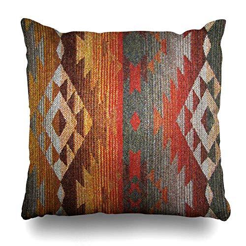 Mesllings - Funda de Almohada Decorativa de 16 x 16 Pulgadas Cuadrada, diseño de Navajo Occidental, Color Naranja y Gris