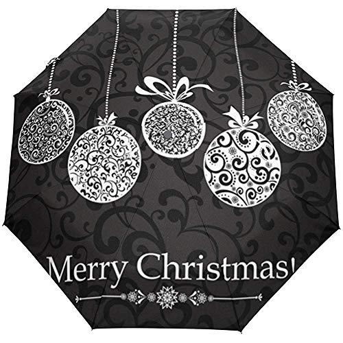 Weinlese-Frohe Weihnachtsbaum-Ball-Schneeflocken-Auto-Open-Close-Sun-Regen-Regenschirm