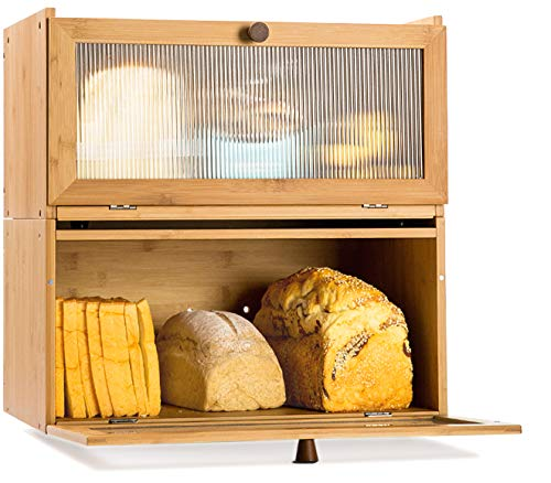 ETMI Bamboo Bread box for kitchen countertop 2 Layer Bread Storage Box - Detachable Design - Can Use as 2 Individual Bread Bin
