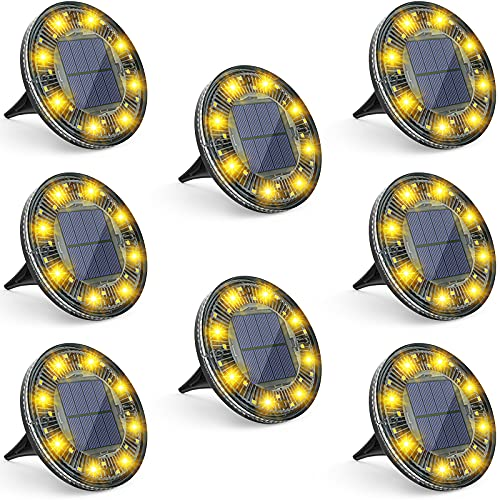 LOFTEK Solar Ground Lights, 24 LED Solar Garden Lights with Rotation and Static Modes, IP68 Waterproof Outdoor Step Lights, Solar Pathway Lights for Yard Pathway Walkway Patio Lawn, Warm White, 8 Pack