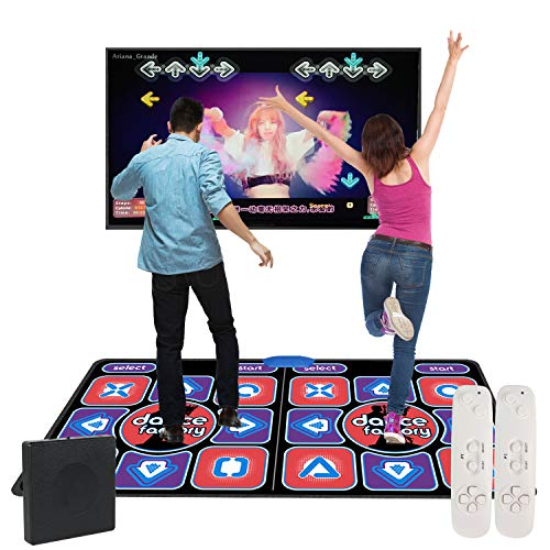 Dance Mat – HDMI Wireless Double User Video Game Dance Pad for Kids Adults Multi-Function Games and Music and Levels, Plug and Play, Built-in Games Console for PC TV (11MM PVC+2 Controllers,English)
