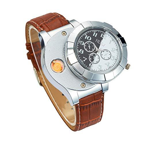 Reloj casual reloj más ligero creativo, encendedor de cigarrillos electrónico recargable USB, reloj de cuarzo, hombres