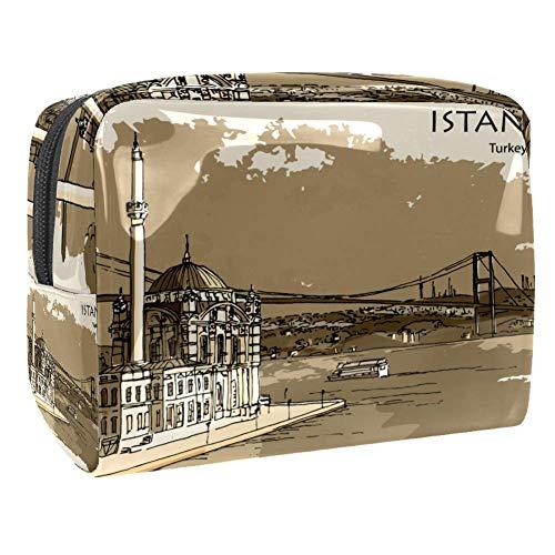 Bolsa de maquillaje portátil con cremallera bolsa de aseo de viaje para las mujeres práctico almacenamiento cosmético bolsa Bósforo Estambul Turquía